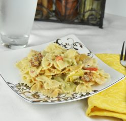 Creamy Sun-Dried Tomato, Roasted Red Pepper and Artichoke Pasta