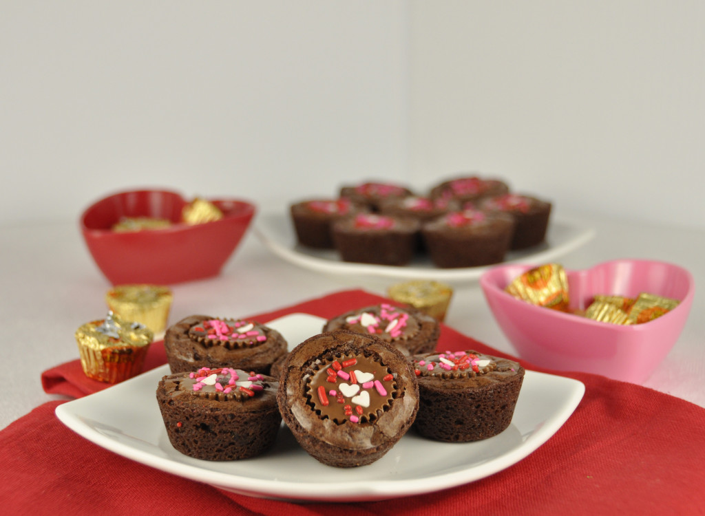 Peanut Butter Cup Brownie Bites recipe with Valentine's Day Sprinkles.