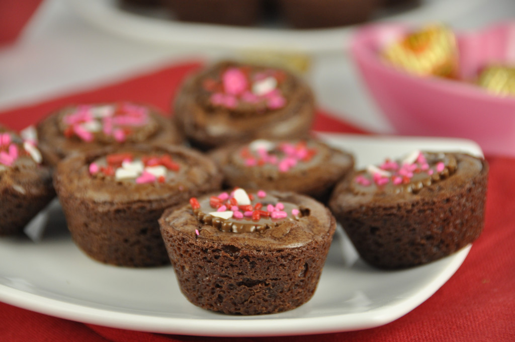 Peanut Butter Cup Brownie Bites with Valentine's Day Sprinkles are great for any holiday if you just switch up the colors!