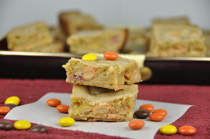 Reese's Pieces Blondies are my favorite chewy blonde brownie recipe. This easy dessert recipe has the perfect compliment of peanut butter and chocolate packed into these scrumptious blondie bars!