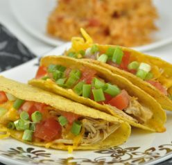 Slow Cooker Chicken Tacos recipe made in the crock pot for Mexican food night