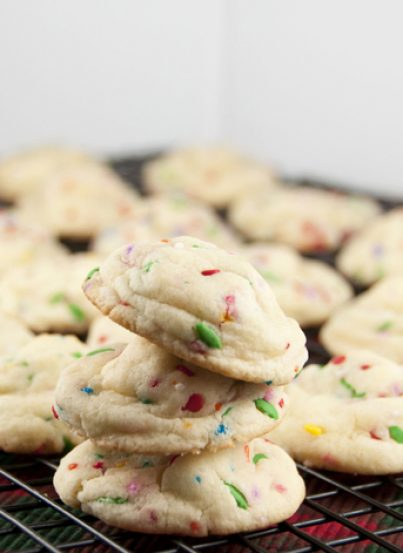Confetti Cake Batter Cookies. Made with box cake mix and sprinkles.