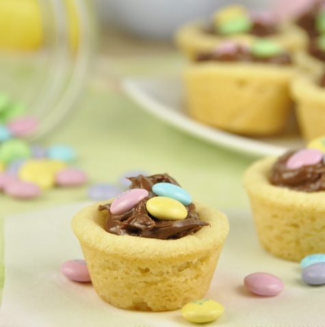 M&M Nutella Cookie Cups for Easter or Spring