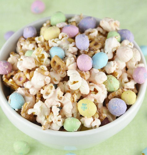 Salted Caramel Easter Popcorn with Peanut M&Ms Recipe.