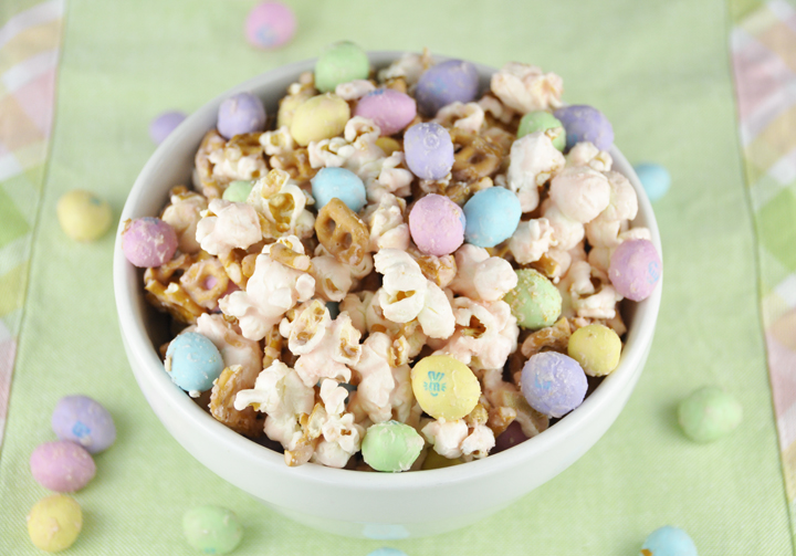 Salted Caramel Easter Popcorn with Peanut M&Ms.