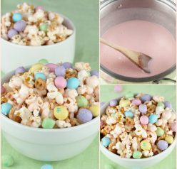 Easy Salted Caramel Easter Popcorn recipe for spring!