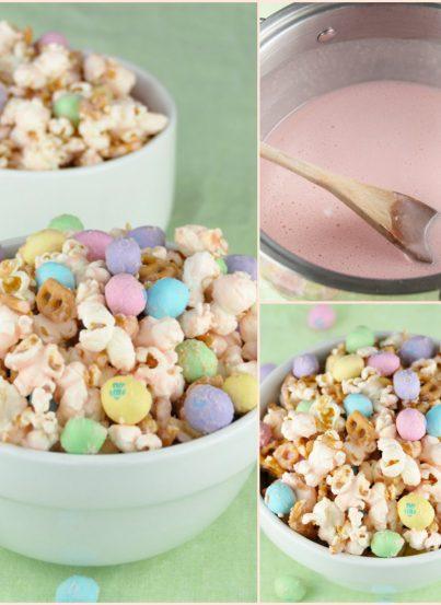 Easy Salted Caramel Easter Popcorn recipe for spring!