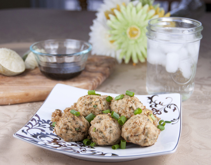 Asian Turkey Meatballs With Lime Sesame Dipping Sauce -