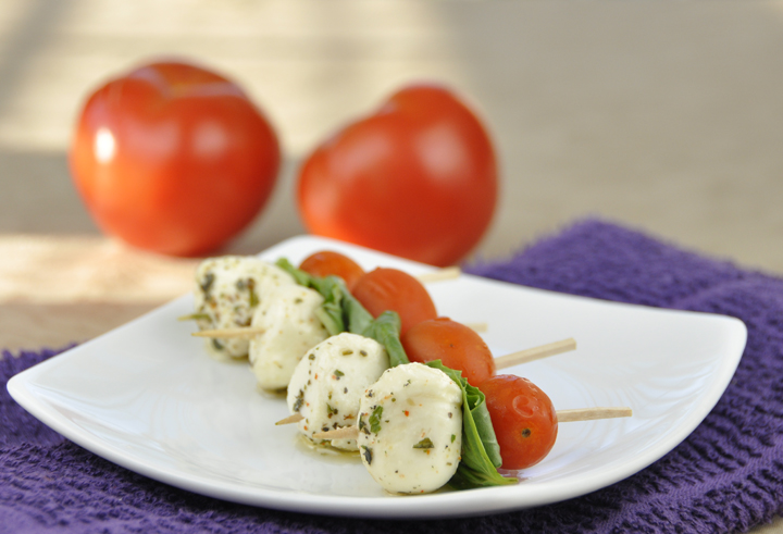 Caprese on a Stick. Caprese salad on toothpicks.