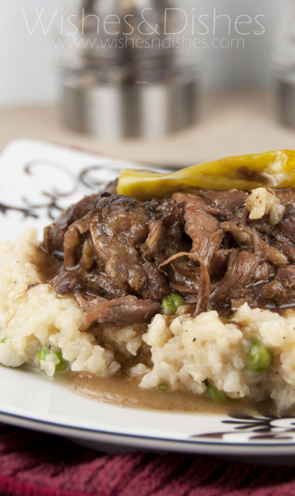 Crock Pot Mississippi Pot roast is so tender it will just fall apart as it cooks!  The whole family will love this dinner recipe.