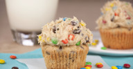 Monster Cookie Dough Cupcakes Recipe. Peanut butter cupcakes with monster cookie dough frosting