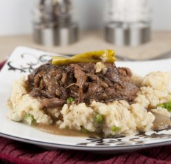 Slow Cooker Mississippi Pot Roast Recipe served over baked parmesan risotto (crock pot)