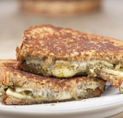 Spinach-Basil Pesto Grilled Cheese Sandwich Recipe for National Grilled Cheese Month in April