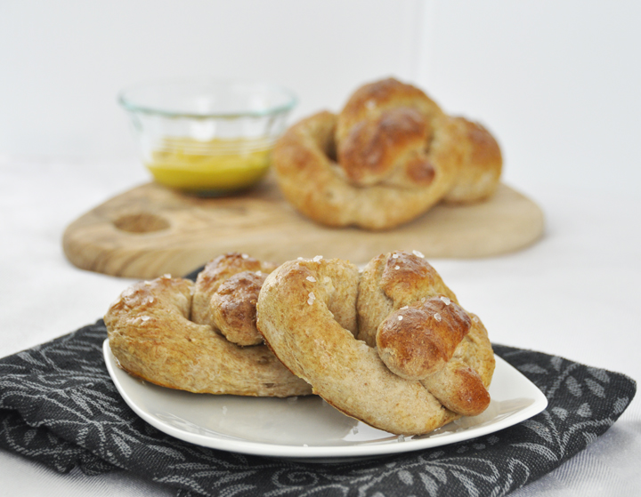 30 Minute Homemade Soft Pretzels recipe made with whole wheat flour and cheesy dipping sauce.