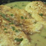 Chicken French Recipe (Chicken Frances). Lemon butter wine sauce. Served over pasta.