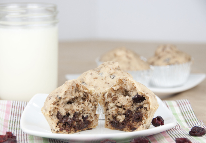 Loaded Pancake Muffins Recipe with chocolate chips, cranberries, and walnuts for Breakfast or brunch.