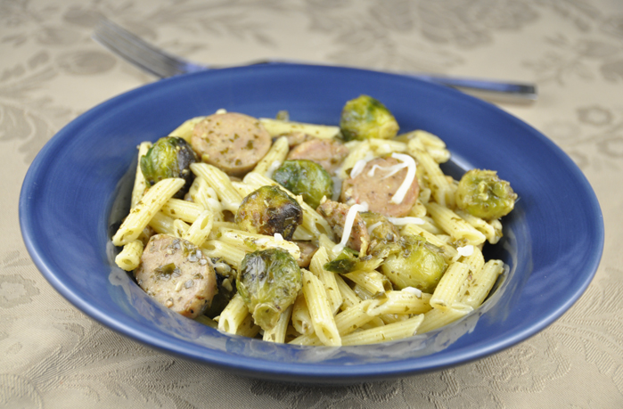Pesto Pasta with Chicken Sausage & Roasted Brussels Sprouts Recipe