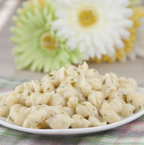 Creamy Garlic Shells Recipe. Perfect side dish for any barbeque or any occasion.