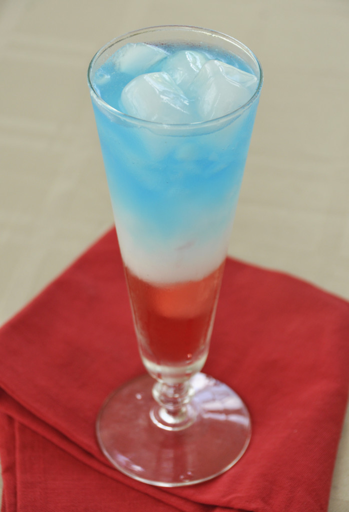 Layered Patriotic Non-Alcoholic Drink for the 4th of July. Kid-friendly!