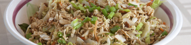 Crunchy Asian Slaw Recipe made with Ramen noodles. Perfect for a side dish to any party or barbeque.