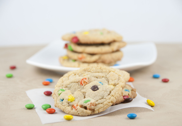 M&M Cookies with chocolate chips and mini M&M's