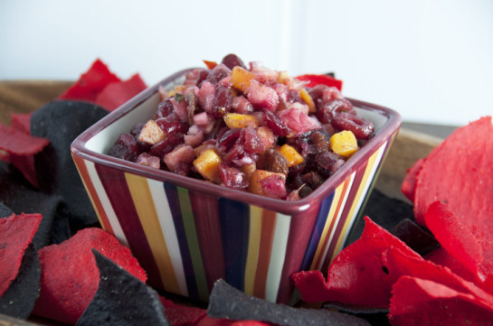 Mango, Pineapple & Cranberry Salsa with Lime and Cilantro Recipe.  Great for summer parties!
