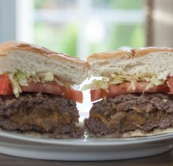 Bacon, Onion and Cheese Stuffed Burger Recipe for summer grilling. Can also make on stove top in a grill pan.