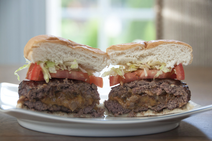 Bacon Onion And Cheese Stuffed Burger Wishes And Dishes