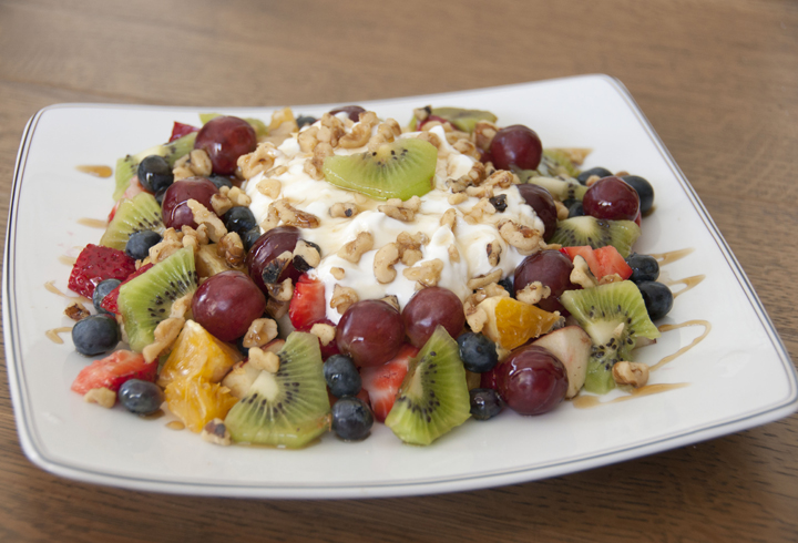 Fruit and Nut Salad made with fresh fruits, walnuts, and raw honey.  Perfect breakfast, healthy dessert, or snack.