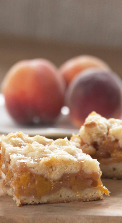 Easy Peach Crumb Bars recipe made with fresh peaches from my peach tree and made into the best summer dessert bars ever!