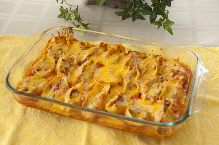 Taco stuffed shells:  pasta shells get a south of the border makeover when filled with taco ingredients and smothered in cheese!  Taco and Mexican food lovers will go crazy for these!