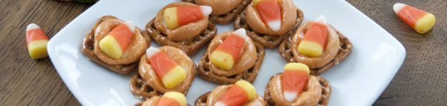 Candy Corn Pretzel Bites Recipe for Halloween or Fall. I used Hershey's Pumpkin Spice Kisses.