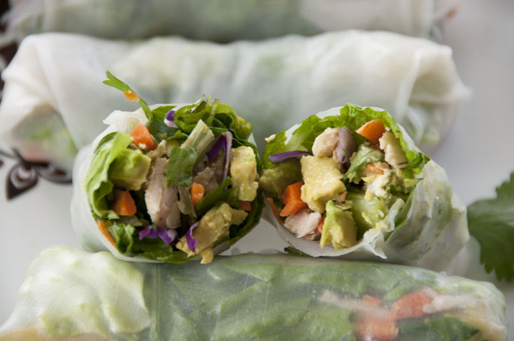 Chicken Avocado Spring Rolls Spring rolls recipe with Thai dipping sauce are one of my go-to spring or summertime meals. If you're looking for something fairly quick and simple but more exciting than a sandwich, this is it!