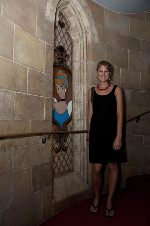 Walking up the royal stairs at Cinderella's Royal Table, Magic Kingdom