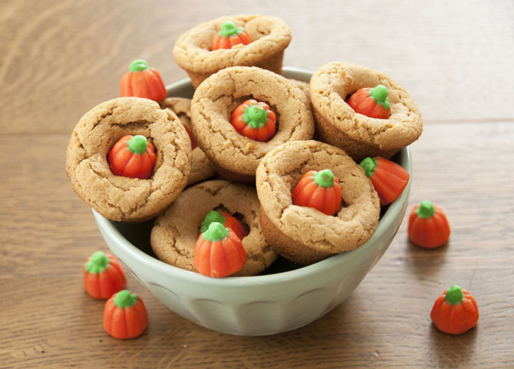 Peanut Butter Candy Corn Cookie Cups Recipe. I used the pumpkin candy corn - perfect for a Halloween party!