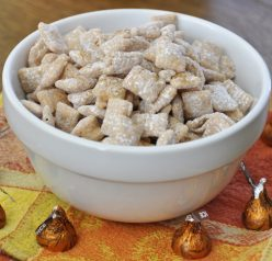 Pumpkin Spice Puppy Chow (Muddy Buddies) Recipe. Perfect for Halloween or fall!