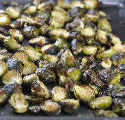 Crispy Lemon Roasted Brussels Sprouts Recipe. Great for a Thanksgiving side dish!