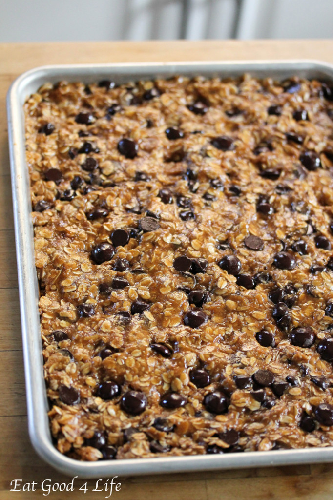 Dark Chocolate and Oatmeal Cookie Bars recipe for a healthy, dair-free dessert idea.