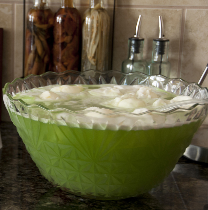 "Green ""Grinch"" Lime Sherbet Punch recipe that is great for any holiday, especially Christmas, St. Patrick's Day, or a baby shower!  Everyone loves this at parties!"