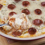 Cheese + Pepperoni Pizza Dip Appetizer Recipe for a party or holiday.