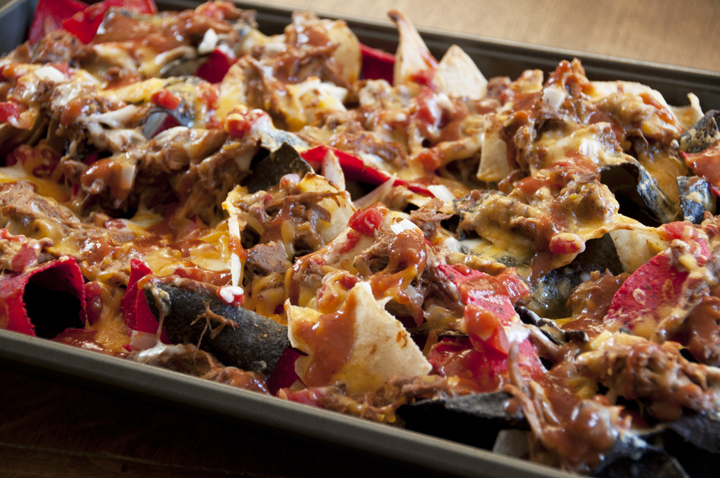 BBQ Pulled Chicken Loaded Nachos Recipe is a a great appetizer food for game day, football food, Super Bowl, New Year's Eve, holidays, or any party.