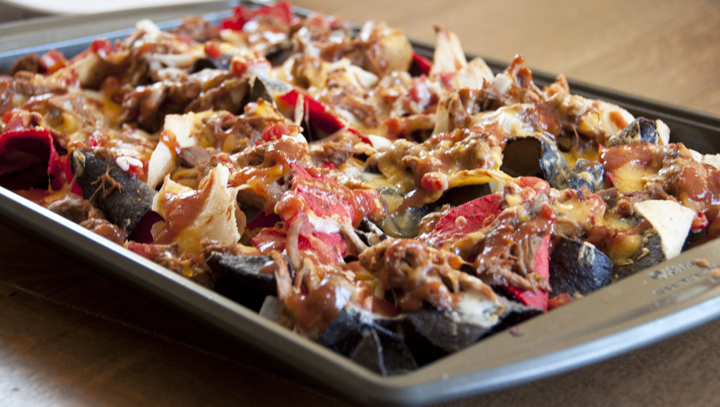 bbq pulled chicken loaded nachos recipe is a a great appetizer food for game day football
