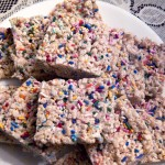Cake Batter Rice Krispie Treats Recipe. Great dessert for a birthday party!