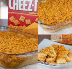 The best Cheez-It Macaroni and Cheese recipe that will blow your mind! It's perfectly creamy, cheesy and unique because of the crunchy cheez-it topping baked right on top.