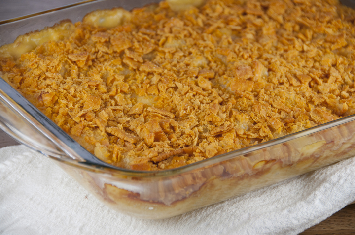 Cheez-it Macaroni and Cheese.  Creamy mac & cheese dinner topped with cheez-it topping instead of bread crumbs.  Great dinner, lunch, or potluck meal.