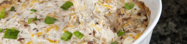 Creamy Bacon & Cheese Dip appetizer recipe. Great for Super Bowl, Football games, parties, holidays, potlucks.