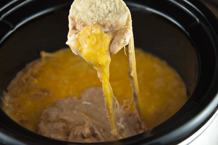 Crock Pot Cheesy Bean Dip Appetizer Recipe (Slow Cooker) for football food, game day, Super Bowl.