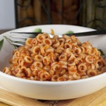 Cheesy Homemade SpaghettiOs Recipe where you can add chicken to make it a dinner with protein.
