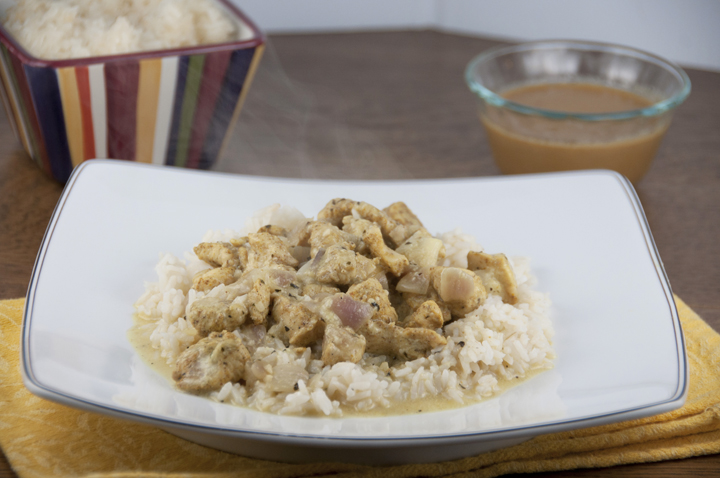 Curried coconut chicken in a creamy coconut milk sauce is a tasty ...