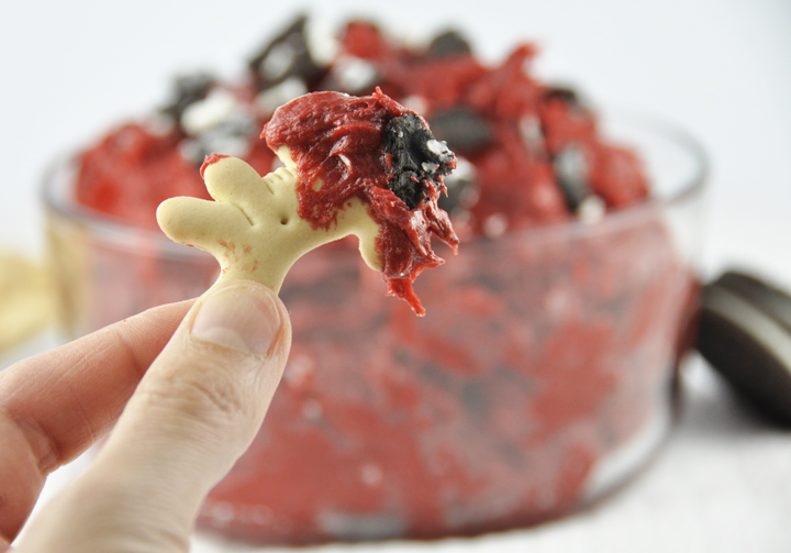 Red Velvet Oreo Cookie Dip Recipe for Valentine's Day or Christmas holiday.  Dessert dip or Party Dip.